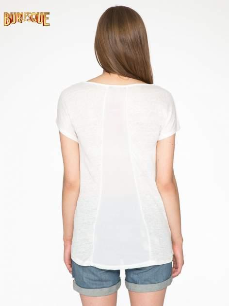 Ecru t-shirt z nadrukiem UNIVERSITY FORVER                                  zdj.                                  4