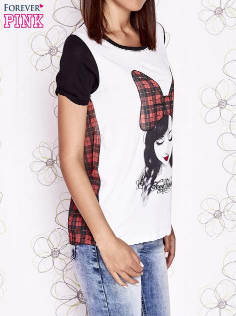 Ecru t-shirt z nadrukiem dziewczyny i tiulowym tyłem                                  zdj.                                  3