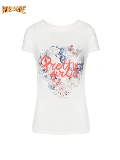 Ecru t-shirt z nadrukiem kwiatowym PRETTY GIRL                                  zdj.                                  7