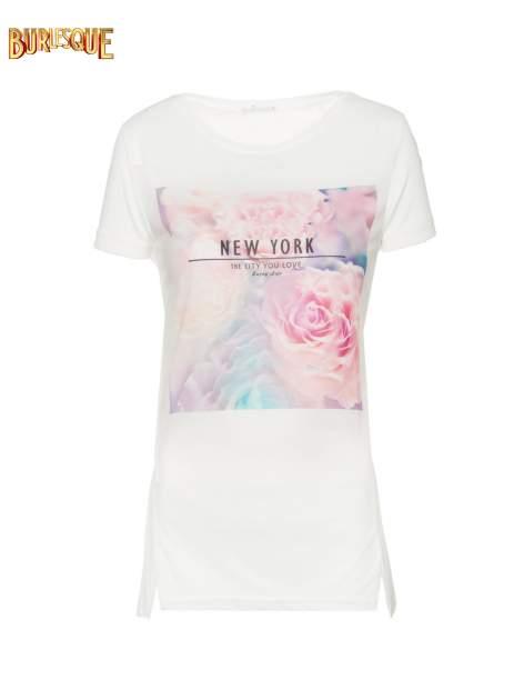 Ecru t-shirt z nadrukiem kwiatowym i napisem NEW YORK                                  zdj.                                  8
