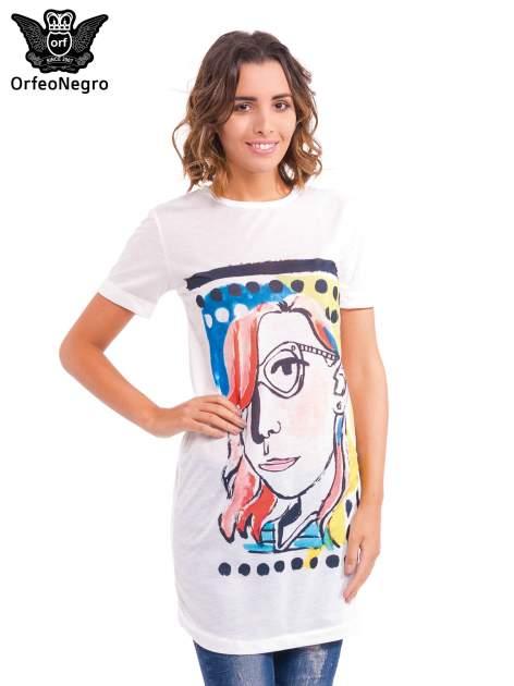 Ecru t-shirt z nadrukiem twarzy                                  zdj.                                  1