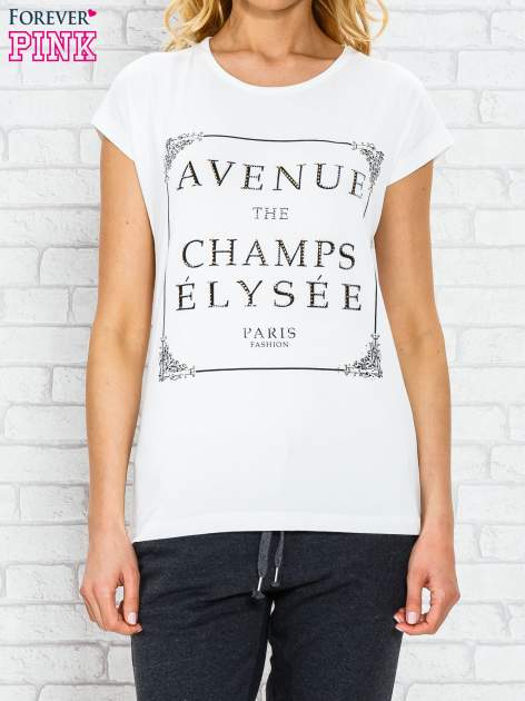Ecru t-shirt z napisem AVENUE THE CHAMPS ÉLYSÉE