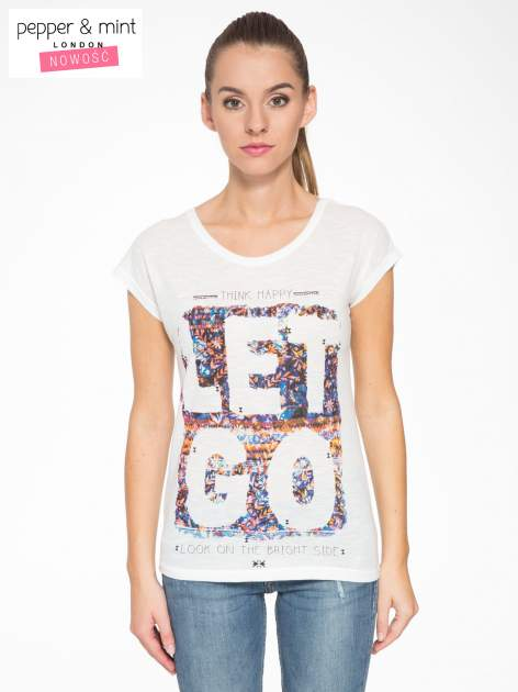 Ecru t-shirt z napisem LET GO