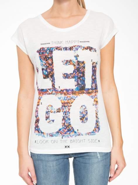 Ecru t-shirt z napisem LET GO                                  zdj.                                  8