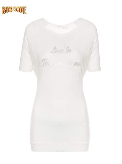 Ecru t-shirt z napisem LIVE IN THE SUNSHINE z dżetów                                  zdj.                                  1