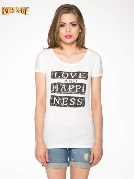 Ecru t-shirt z napisem LOVE AND HAPPINESS                                  zdj.                                  10