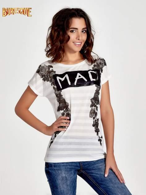 Ecru t-shirt z napisem MAD i kwiatowym nadrukiem                                  zdj.                                  1
