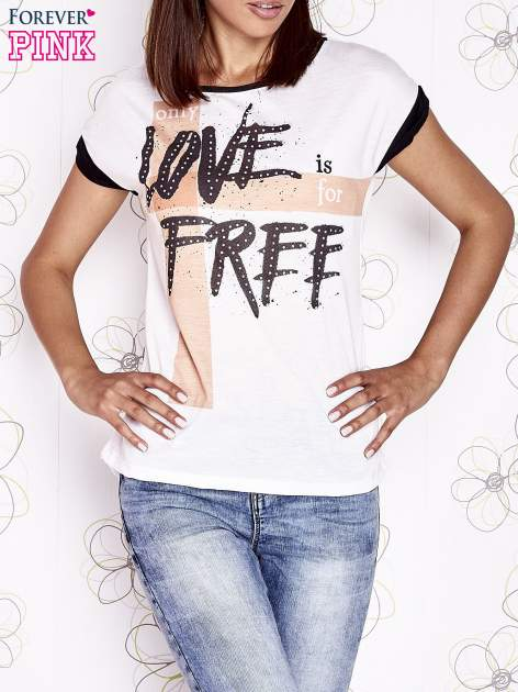 Ecru t-shirt z napisem ONLY LOVE IS FOR FREE                                  zdj.                                  1