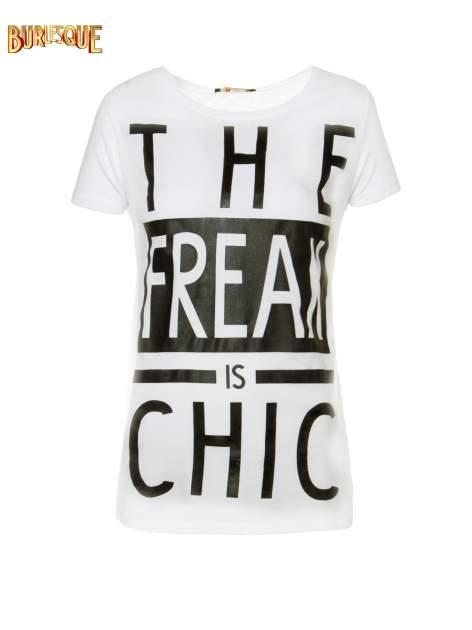 Ecru t-shirt z napisem THE FREAK IS CHIC