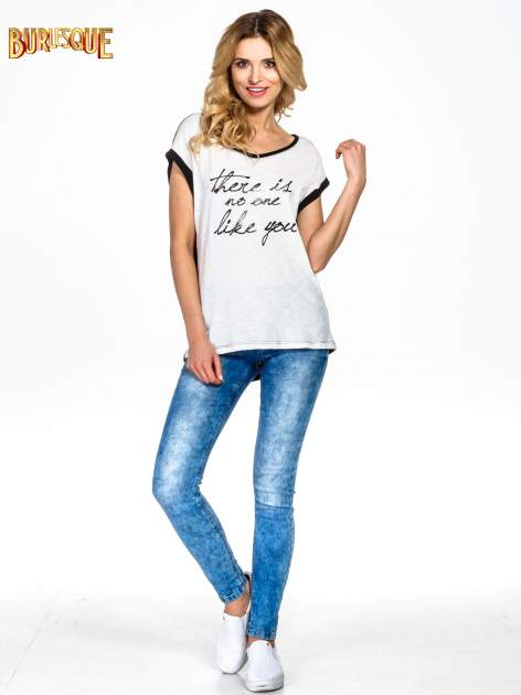 Ecru t-shirt z napisem THERE IS NO ONE LIKE YOU                                  zdj.                                  6