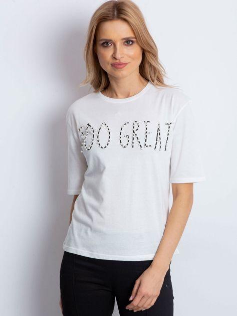 Ecru t-shirt z napisem z perełek                              zdj.                              4