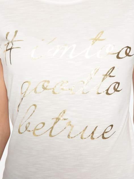 Ecru t-shirt ze złotym hasztagiem                                  zdj.                                  8