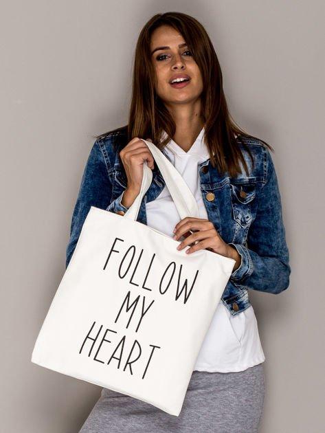 Ecru torba materiałowa FOLLOW MY HEART                                  zdj.                                  3