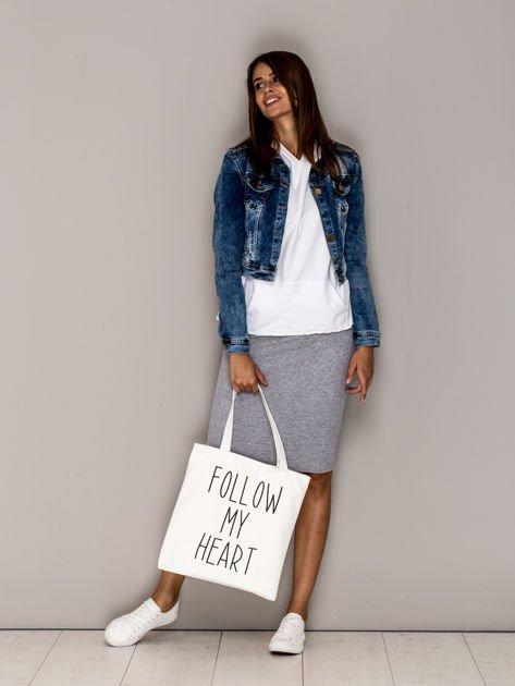 Ecru torba materiałowa FOLLOW MY HEART                              zdj.                              4