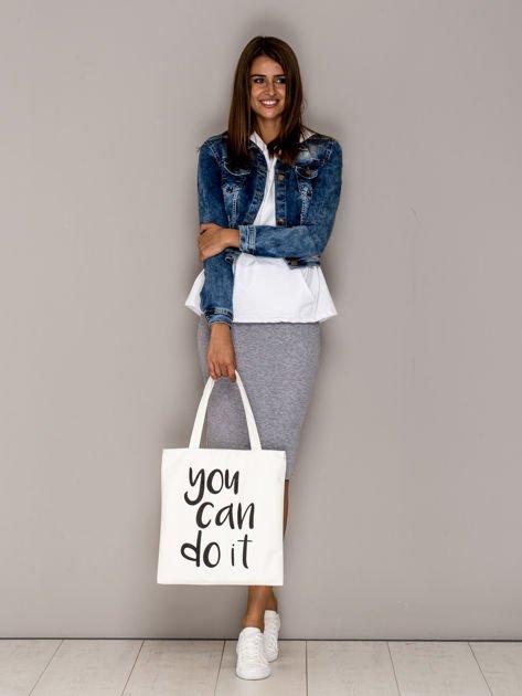 Ecru torba materiałowa YOU CAN DO IT                                  zdj.                                  4