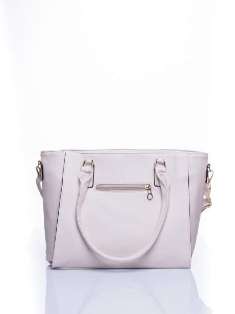 Ecru torba shopper bag z odpinanym paskiem                                  zdj.                                  3