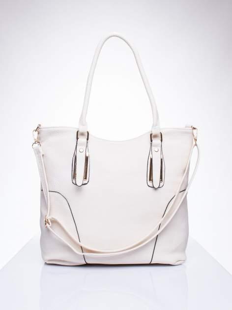 Ecru torba shopper bag ze złotymi okuciami przy rączkach