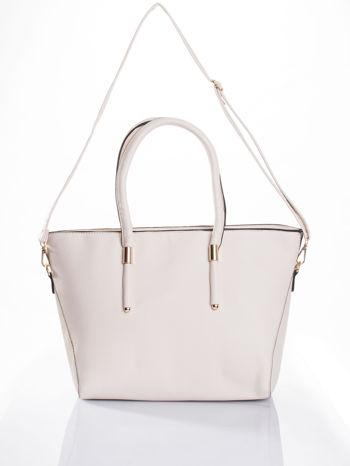 Ecru torba shopper efekt saffiano                                  zdj.                                  4