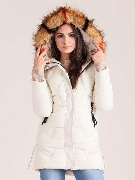 Ecru zimowa damska kurtka                              zdj.                              5