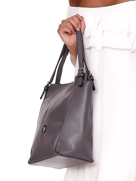Elegancka ciemnoszara torba z eko skóry z logo                              zdj.                              3
