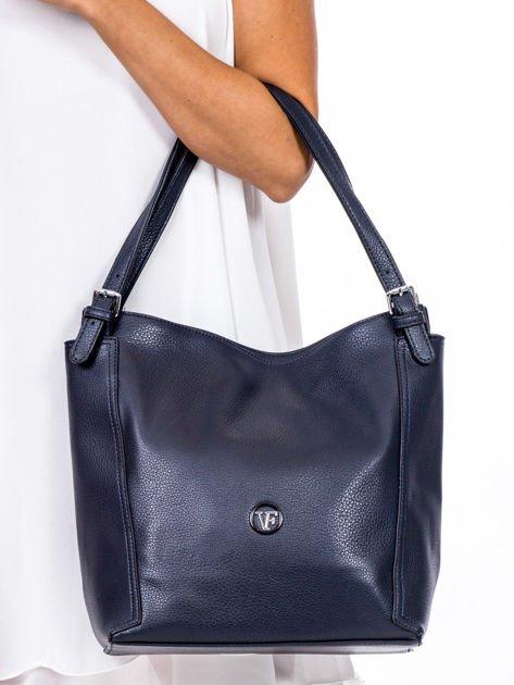 Elegancka granatowa torba z eko skóry z logo                              zdj.                              2