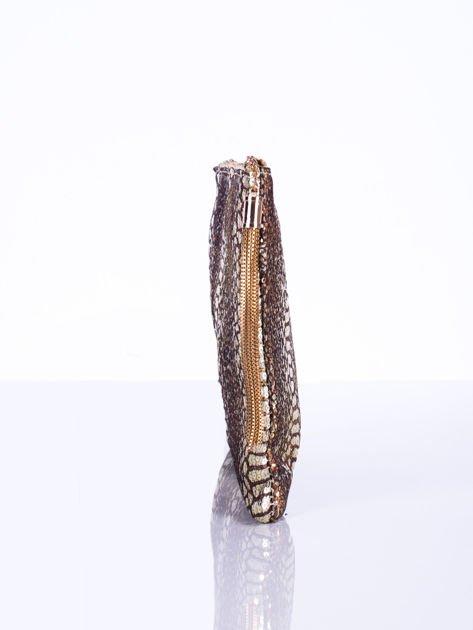 Elegancka kopertówka z motywem wężowej skóry złota                              zdj.                              6