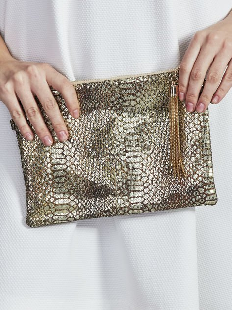 Elegancka kopertówka z motywem wężowej skóry złota                              zdj.                              1