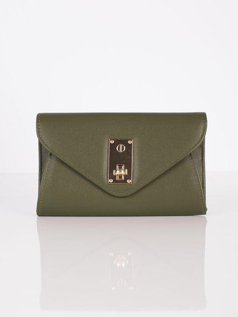 Elegancka kopertówka z ozdobnym zapięciem zielona                              zdj.                              2