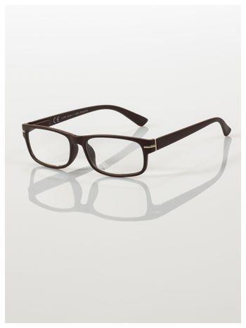 Eleganckie brązowe matowe korekcyjne okulary do czytania +2.0 D  z sytemem FLEX na zausznikach                                  zdj.                                  1