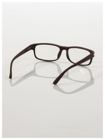 Eleganckie brązowe matowe korekcyjne okulary do czytania +3.5 D  z sytemem FLEX na zausznikach                                  zdj.                                  4