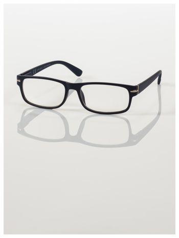 Eleganckie granatowe matowe korekcyjne okulary do czytania +3.0 D  z sytemem FLEX na zausznikach
