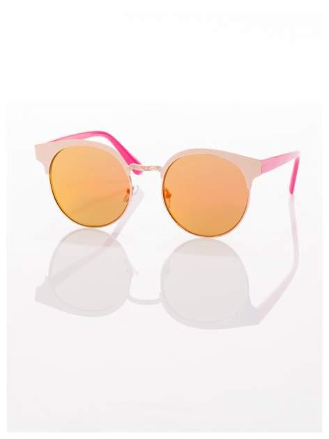 FASHION okulary przeciwsłoneczne KOCIE OCZY stylizowane na FENDI różowo-złote                                  zdj.                                  1