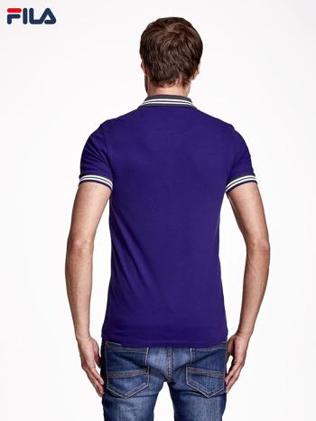 FILA Fioletowa koszulka polo męska z pasiastym wykończeniem rękawów