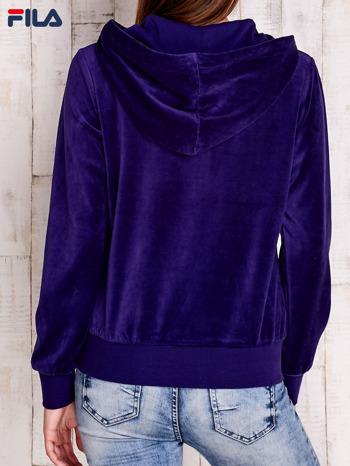 FILA Fioletowa welurowa bluza z kapturem