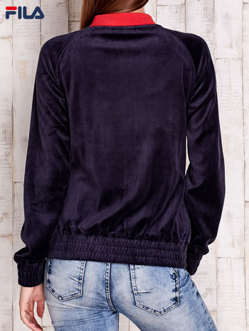 FILA Grafitowa welurowa bluza z kolorową stójką