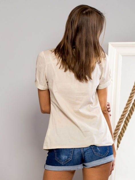 FUNK N SOUL Beżowa koszula z marszczonym rękawkiem                                  zdj.                                  5