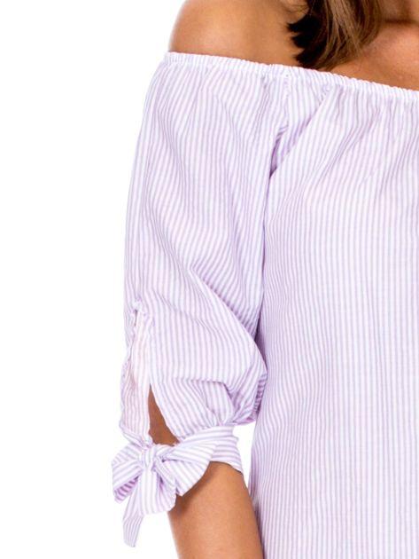 Fioletowa bluzka hiszpanka w paski                              zdj.                              6