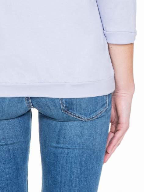 Fioletowa gładka bluzka z luźnymi rękawami 3/4                                  zdj.                                  8