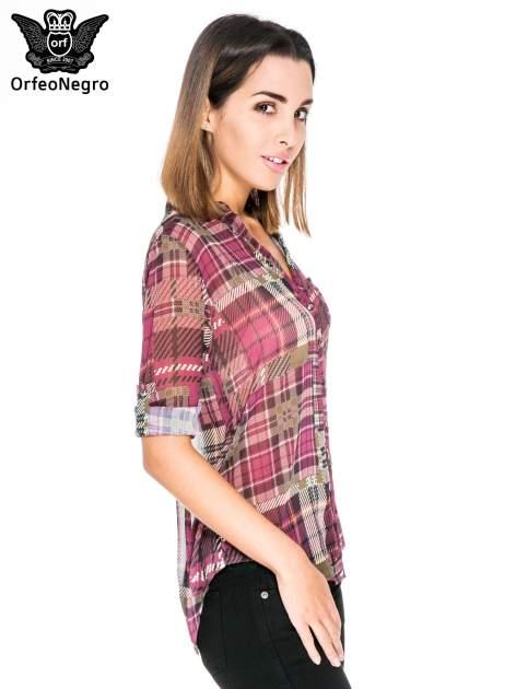 Fioletowa koszula damska w kratę                                  zdj.                                  5