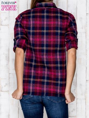 Fioletowa koszula w kolorową kratę                              zdj.                              4