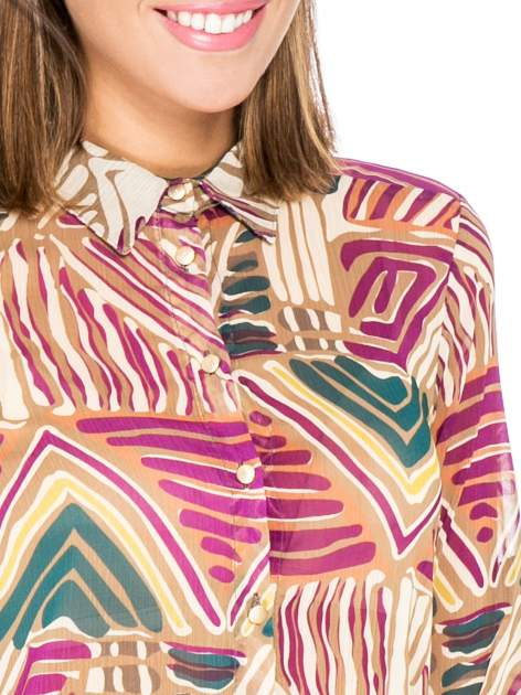 Fioletowa koszula w kolorowe zygzaki                                  zdj.                                  7