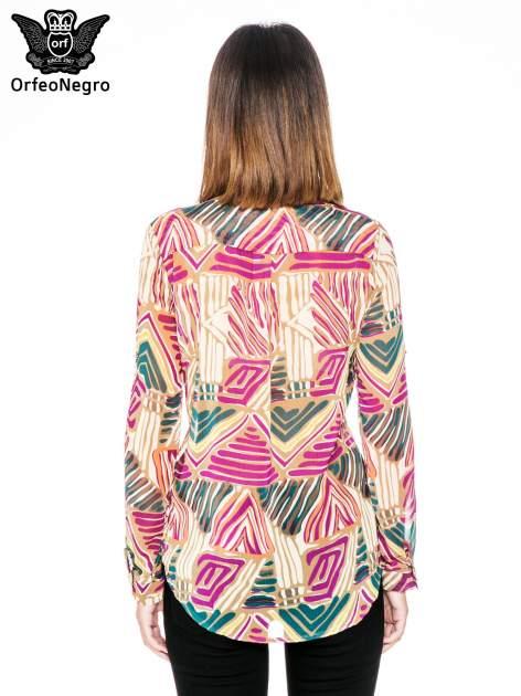 Fioletowa koszula w kolorowe zygzaki                                  zdj.                                  2