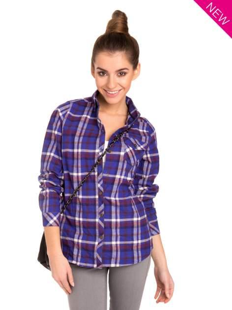 Fioletowa koszula w kratę z kieszonką z przodu                                  zdj.                                  2