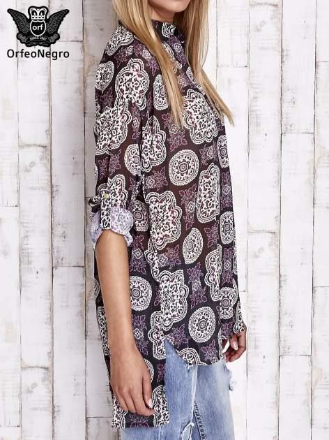 Fioletowa koszula w ornamenty kwiatowe                                  zdj.                                  3