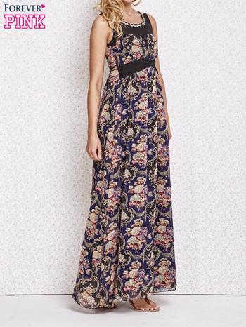 Fioletowa kwiatowa sukienka maxi z biżuteryjnym dekoltem                                  zdj.                                  3