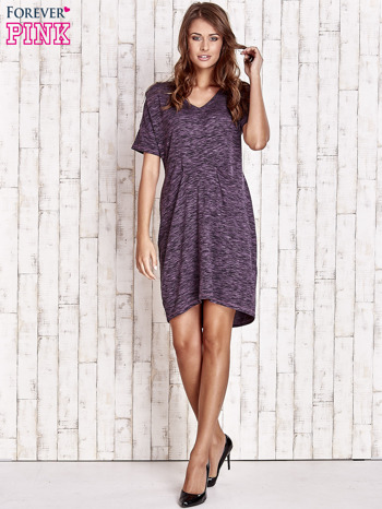 Fioletowa melanżowa sukienka z marszczeniem w pasie                                  zdj.                                  2