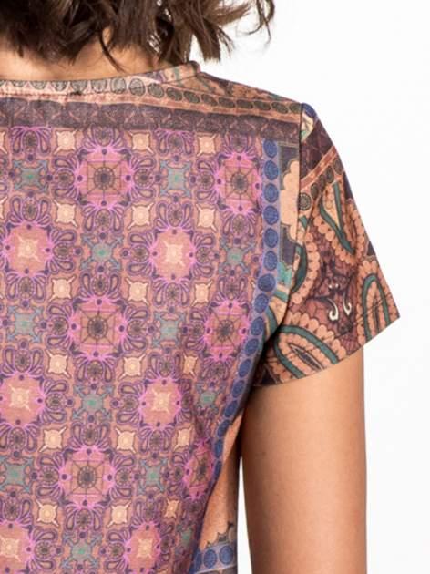 Fioletowa mini sukienka w patchworkowy wzór                                  zdj.                                  5