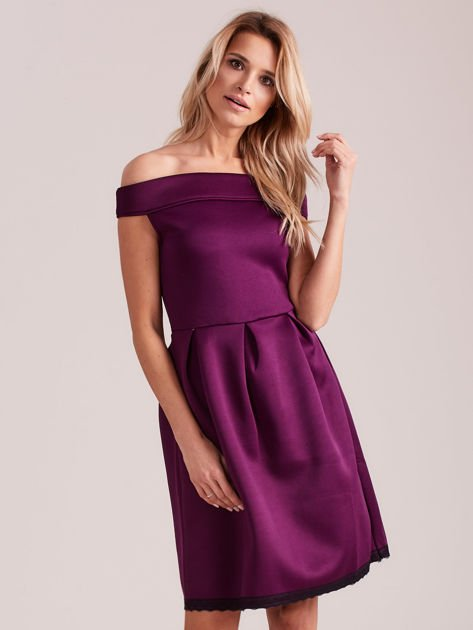 Fioletowa rozkloszowana sukienka z pianki                              zdj.                              1