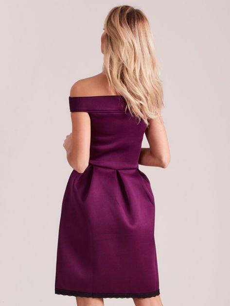 Fioletowa rozkloszowana sukienka z pianki                              zdj.                              2