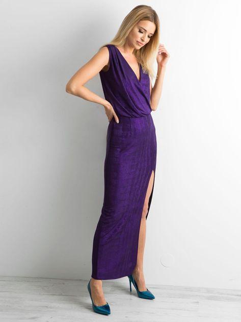 Fioletowa sukienka maxi z rozcięciem                              zdj.                              3